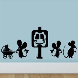 $enCountryForm.capitalKeyWord Canada - Freeship Funny Mouse Family Car Cartoon Wall Stickers Room Decoration Diy Vinyl Home Decals Animal Mural Art Posters