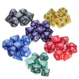 7pcs / Set Résine Polyhédrique TRPG Jeux Pour Dungeons Dragons Opaque D4-D20 Multi Côtés Dice Pop pour Jeu Gaming en Solde
