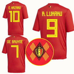 2018 World Cup Belgium Jersey E. HAZARD De Bruyne Lukaku Fellaini Mertens  Courtois Carrasco Kompany Soccer Jerseys WC Football Shirts Kit 690b32fb1