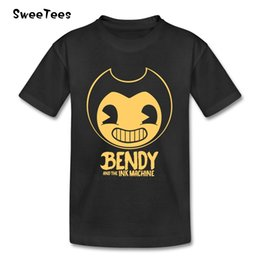 Barato Camisas Bebendo Do Bebê Do Menino Puro-Bendy and The Ink Machine Children's T Shirt Infantil Pure Cotton O Neck Kid Tshirt 2017 Toddler Clothes Boy Girl T-shirt Para o bebê
