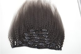 Discount clip malaysian hair extensions - Clip in human natural top hair extensions 7pcs Brazilian kinky straight clip on hair 120g G-EASY Hair natural black