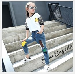 $enCountryForm.capitalKeyWord NZ - Children's wear 2017 girls spring and autumn new tide model big boy patch jeans Korean version new children pants factory direct sales