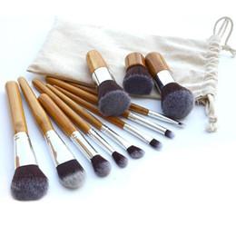 $enCountryForm.capitalKeyWord Canada - New Kabuki Makeup Brush Set 11pcs set Professional Bamboo Makeup Brushes Set Eye Shadow Pinceaux Maquillage Foundation Blusher Soft Brochas