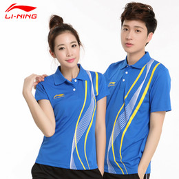 polo men sport shirt Canada - Wholesale-New  Badminton Polo Shirts Fashion Men and Women Couple model badminton Breathable Sport Shirts Lining sports