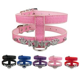 Chinese  5 colors 3 Sizes Snakeskin Personalized Dog Harness PU Leather 10mm Slider for letters and Charm manufacturers