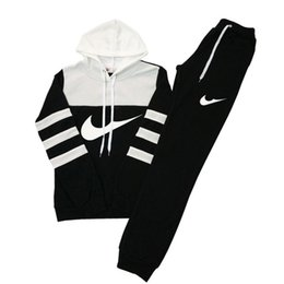 Wholesale collar up woman for sale – plus size women casual sports hooded Sweatshirts pants and retail clothing female runners hit color suit woman Sweatshirts Tracksuit