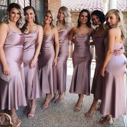 silk satin sheath wedding dresses 2019 - 2018 Tea Length Sexy Straps Spaghetti Sheath Bridesmaid Dress Zipper Back Cheap Country Wedding Party Guest Wear Formal