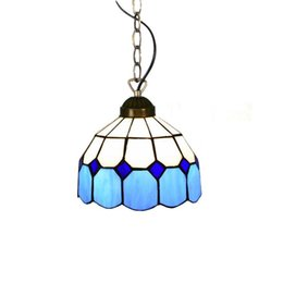 pendant lamp hallway light NZ - Mediterranean Blue Tiffany Dining Room Pendant Lamp Fashion Cafe Bar Pendant Lamps Balcony Hallway Hanging Light