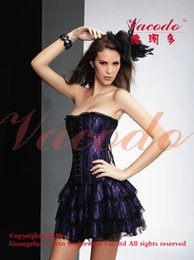 blk red NZ - Wholesale-walson instyles free pp2162b Lingerie Blk Lace Satin Gothic Corset Dress