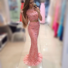 Barato Barato Rosa Vestidos Para Homecoming-Pink Two Pieces Homecoming Vestidos com grânulos Sequins Full Lace Party Dress Cheap Sweep Train Cheap Prom Dress Girls Vestidos formais