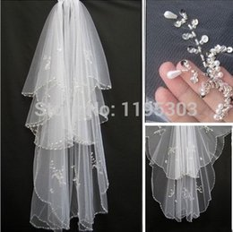 Hair Netting Wedding Canada - Hot Short Wedding Veils White Ivory Bridal Veils with Comb Two Layer With Sequins Beading Bride Hair accessory Beaded Edge Bride Veils