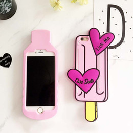 Water Bottles For Boys Canada - 2017 New 3D Cartoon Pink Ice cream love Water Bottles Soft Silicone Case for iPhone 6 6s plus Case Lovely Boys Tears Back Cover