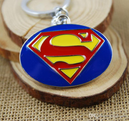Superhero Keychains Canada - Superhero Superman S keychains key rings bag hangs pendants for women men keyring keychains Retail pack 170560