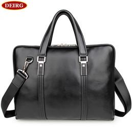 Discount male laptop bags - Wholesale- High Quality Genuine Cow Leather Classic Black Men Briefcase Business Handbag For Male 15 Inch Laptop PR08732