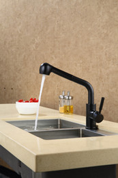 kitchen taps pull out black NZ - black color pull out kitchen faucet mixer tap deck mounted single hole  handle new