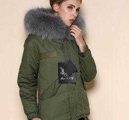 Dog Zipper Australia - outwear Meifeng grey fur trim 100% rabbit fur lined army green mini parka warm fur jackets for women with ykk zipper