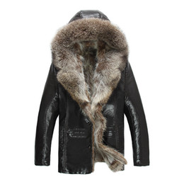 Mens Parka Leather Canada - Mens Genuine Leather Jackets Real Raccoon Fur Coats Shearling Winter Parkas Snow Clothes Warm Thicking Outwear Plus Size 4XL 5XL