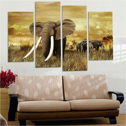 Africa Animals Canada - New 4 Pieces Africa Elephant Scenery Painting Modern HD Print Animal Painting on Canvas Home Wall Art Decration