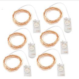 Vente en gros 2M 20 LED guirlandes de ficelles chaîne étoilée CR2032 bouton à piles argentée Halloween décoration de fête de mariage lumière