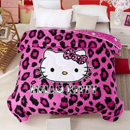 $enCountryForm.capitalKeyWord Canada - Purple Leopard Hello Kitty Summer Quilt Air-condition Duvets Washable Blanket Thin Comforter Quilts for Girls Kids Home Textile Gift