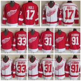 ... Detroit Red Wings Ice Hockey Jerseys Throwback Sports 17 Brett Hull 31  Curtis Joseph 33 Kris ... 38e4a1592