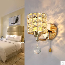 ac85265v pull chain switch crystal wall lamp lights 3w modern zipper stainless steel base lighting wall sconces lamparas de pared light switch pull for