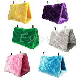 China Wholesale-Free Shipping Plush Bird Hanging Cave Cage Snuggle Happy Hut Tent Bed Bunk Toy Parrot Hammock supplier cave beds suppliers