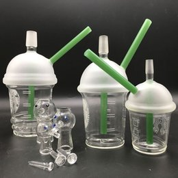 Concentrate Bongs Canada - Wholesale Starbuck Cup oil rigs glass bongs hookah pipes with 10mm 14mm 18mm green dab concentrate honey bucket pipes for smoking