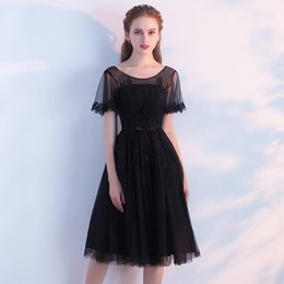 $enCountryForm.capitalKeyWord NZ - Real Photo In Stock Black Tulle Scoop Neck Backless Bandage Trumpet Sleeves Appliques Beaded Tea Length Ball Gown Homecoming Dress Plus Size