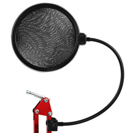 Microphone Pop Filters Canada - Studio Microphone Microfone Mic Wind Screen Pop Filter  Swivel Mount   Mask Shied For Singing Recording with Gooseneck Holder