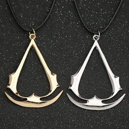 assassins creed pendant NZ - Assassins Creed Necklace Game Altair Ezio Connor Desmond Silver Gold Anchor Pendant necklace Leather Rope Jewelry Men Women necklace