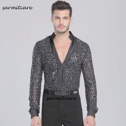 Samba Clothes Canada - Latin Male Latin Dance Shirt for Men Samba Dance Costumes Tango Samba Costume Dance Clothes Latin Shirts D0115 V Neck Long Sleeve Glitter