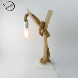 wooden lamps Canada - American country Modern Shabby Chic Gloss Tree Branch Design Table Lamp White Nature Wooden Base Hemp Rope Desk Lamp beside lamp