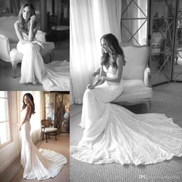 Gracieux Sexy Pas Cher-Graceful 2017 Lace Mermaid Robes de mariée Spaghetti Straps Custom Made Formal Bohemian Arabe Robes de mariée Court Train Backless BA3660