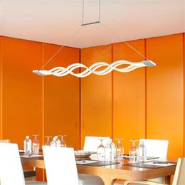 Modern Chandeliers 60W 120W Led Pendant Lamp Fixture Lampara Colgante Dining Room Living Lights Wave Strip Metal Acrylic