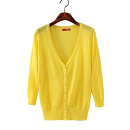 $enCountryForm.capitalKeyWord UK - Wholesale- 2017 Cardigan Lady Knit Sweater Casual Sweater Woman Thin Sunscreen Air-Conditioned Short Sweater Coat Plus Size 23 Colors FL386