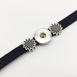 ImItatIon sunflowers online shopping - Sunflower Leather snap button Bracelet BT216 fit mm mm snaps party dress jewelry DIY