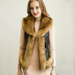 Barato Colete Assimétrico-Venda Hot Mulheres Fur Collar Coletes Coats Luxe Fur-Trim <b>Asymmetric Vest</b> Magro Preto Faux Leather Jacket Exteriores Casaco