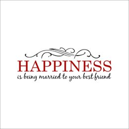 Best Bedroom Wall Stickers NZ - Happiness is being Married to your best Friend Wall Quote Decals Headboard Decoration Art Metal Scroll Pattern Wall Stickers Home Decoration