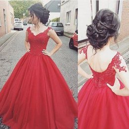 Sweep Train Designer Occasion Dresses Canada - 2017 Designer Ball Gown Evening Gowns Vintage Red Tulle Sweetheart Prom Party Dresses For Girl Special Occasion Dress