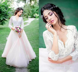 Illusion V Neck Wedding Dress Canada - 2017 Country Wedding Dresses Beach V Neck Illusion Lace Appliques Top Three Quarter Sleeves Bohemian Tulle Plus Size Formal Bridal Gowns