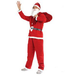 christmas santa suits adult 2019 - Non-woven Santa Claus clothes 5pcs in a set suit (hat Beard clothes pants belt) for adult man free shipping CT05 cheap c