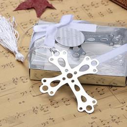 Diseño especial de plata cruz de acero inoxidable marcador para la fiesta de bienvenida al bebé de la boda regalo del favor del cumpleaños + DHL envío gratis