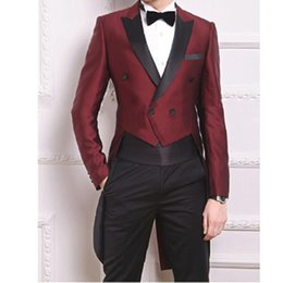 $enCountryForm.capitalKeyWord Canada - Classic Burgundy Black One Button Groom suits for Wedding 2016 The Best Man Suits For mens Suits Business Party Tailcoat (Pant+Jacket+tie)
