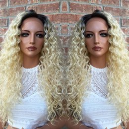 Front Lace Wig Human Hair Blond Canada - Blond human hair wigs 7A grade #613 kinky curly indian remy full lace front wigs 100% human hair wigs with baby hair