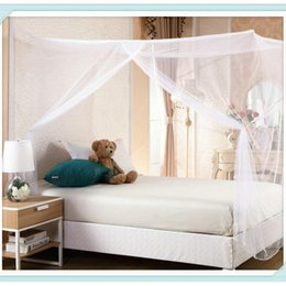 Corner Beds Canada - 2017 New White Four Corner Elegant polyester Mosquito Net Insect proof school home Bed Net mosquito-proof Curtain 4 Size