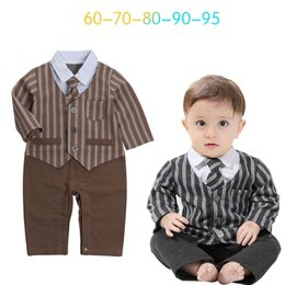 Garçon, Automne, Mamelon Pas Cher-Ins Babys Boys Romper Stripe Vêtements pour enfants 2017 New Autumn Winter Jumpsuits Rompers Long Sleeve newborn Tie Romper YAN-597