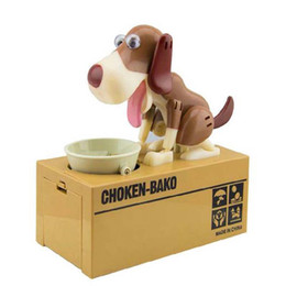 Discount plastic dog banks New Designer Puppy Hungry Eating Dog Coin Bank Money Saving Box Piggy Bank Children's Toys Decor Interesting Children's Gift