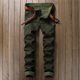 Pantalons Cargo Pas Cher-Vente en gros - 2017 Hommes Skinny Ripped Biker Jeans Multi Pockets Cargo Pant Army Green Mens Pleated Pencil Jeans