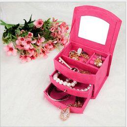 $enCountryForm.capitalKeyWord UK - 15*12*10cm Lint Fabric Fashion European Princess Three Layer Jewelry Sets Sundries Cosmetics Storage Organizer Box Case Bins Cabinets